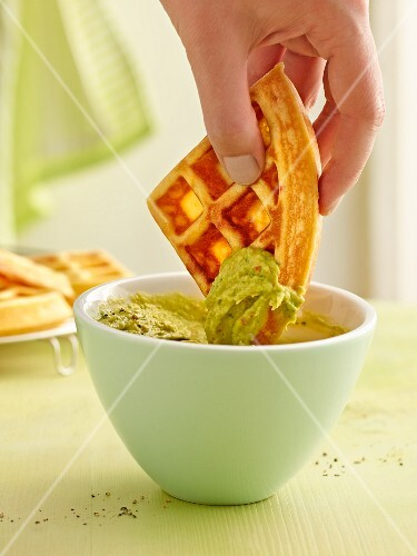 Chilli waffles and an avocado dip