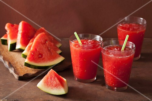 Watermelon smoothies and fresh watermelon wedges