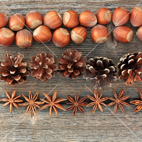 An autumnal arrangement of nuts, pine cones and star anise