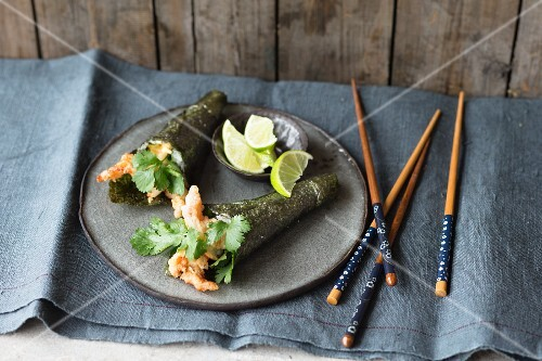 Temaki sushi with tempura prawns and coriander