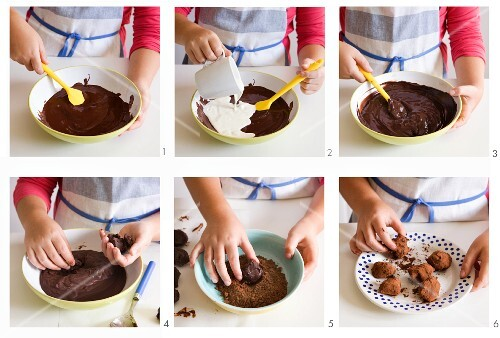 Chocolate truffles for children being made