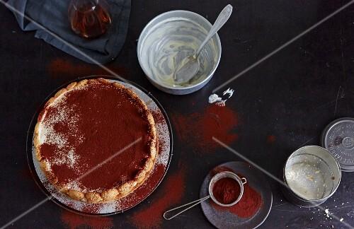 Tiramisu cake being made