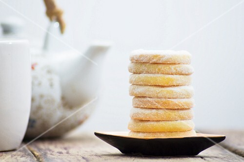 Stack of biscuits with tea