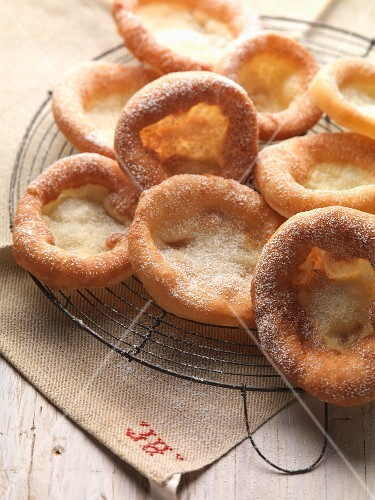 Auszogne (Bavarian-style doughnuts) with cinnamon sugar