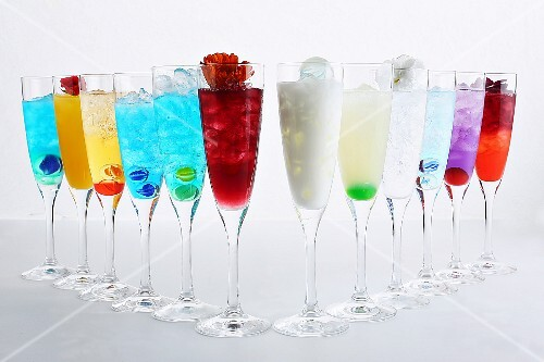Lots of different coloured cocktails
