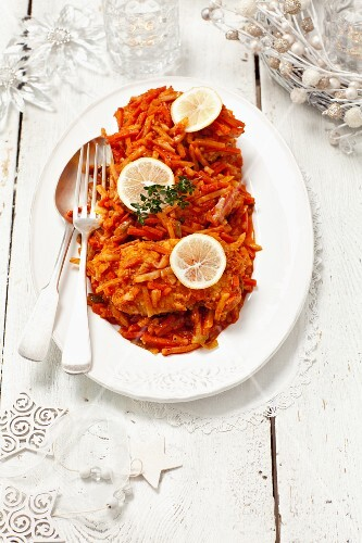 Fish with vegetables in tomato sauce for Christmas