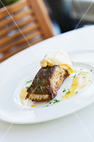Halibut fillet with Hollandaise sauce at The Seafood Restaurant in Padstow (Cornwall, England)
