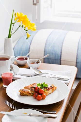 Breakfast tray with a cheese croissant (Trevose Harber House Hotel in St. Ives, Cornwall, England)