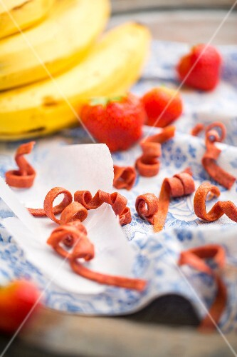 Fruit strips with fresh strawberries and bananas