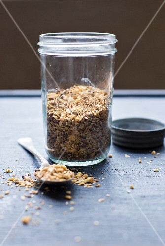 A jar of dukkah (oriental nut and spice mixture)