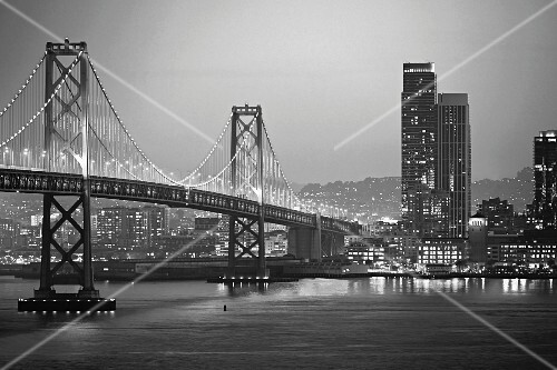 Bay Bridge between San Francisco and Oakland by night (California, USA)