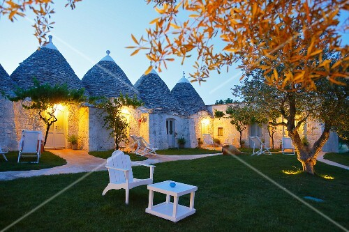 Trulli houses in Masseria Cervarolo that night (Brindisi, Italy)
