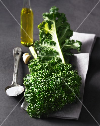 Kale, salt, garlic and olive oil