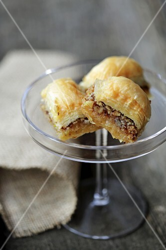 Baklava in a glass dish