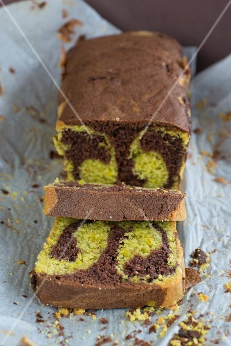 Chocolate and pistachio marble cake, sliced