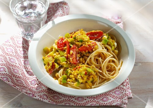 Spicy lentil pasta with tomatoes and celery