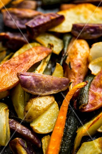 Oven-roasted vegetables with olive oil, rosemary, savory and fleur de sel