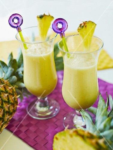 Detox Pina Coladas made from almonds, bananas, pineapple, coconut flakes and agave syrup