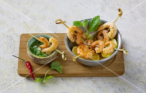 Prawn skewers with a chilli and coriander vinaigrette
