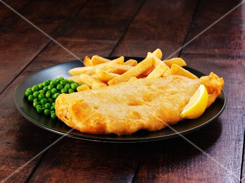Battered cod with chips and peas