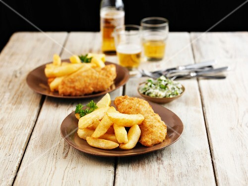 Fish and chips with herb butter and beer