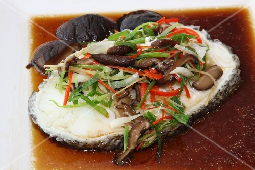 Steamed sablefish with soy sauce