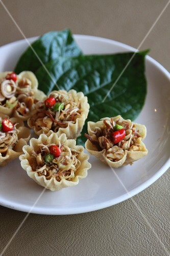 Lemongrass salad in crispy cups, Thailand