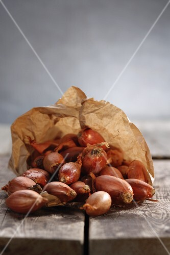 Shallots in a paper bag