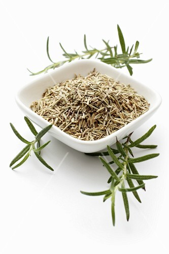 A bowl of dried rosemary