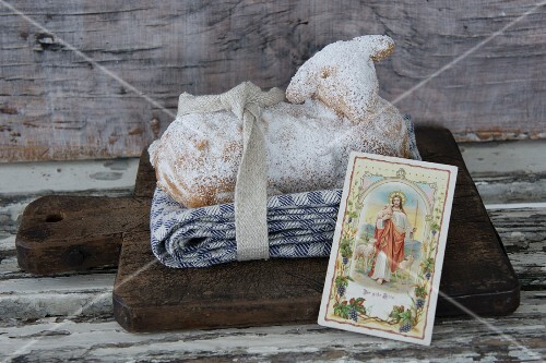 A sweet Easter lamb with a picture of a saint