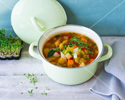 Vegan potato stew with cress