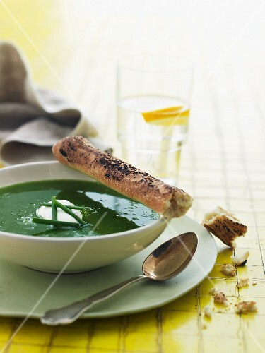 Chive soup with creme fraiche