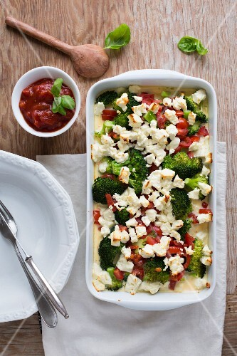 Broccoli bake with feta cheese (seen from above)