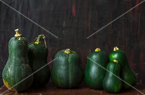 A row of green squash