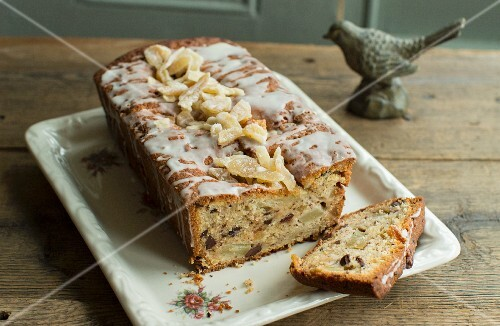Pear loaf cake with candied ginger and chocolate