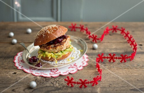 Christmas turkey burger with Brussels sprouts and cranberry sauce