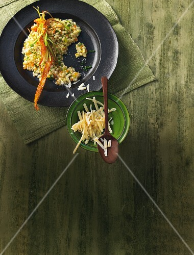 Root vegetable and barley risotto with vegetable crisps