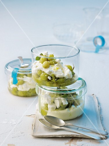 Gooseberry cream with ricotta and lemon balm