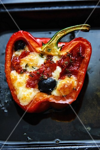 Peppers filled with olives and feta cheese