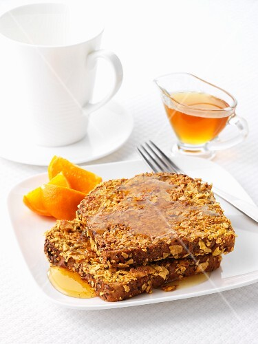 French toast with maple syrup and oranges