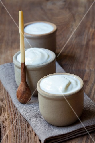 Homemade yoghurt in bowls