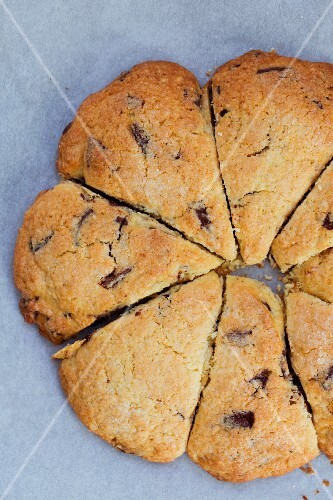 Chocolate chip scones (seen from above)