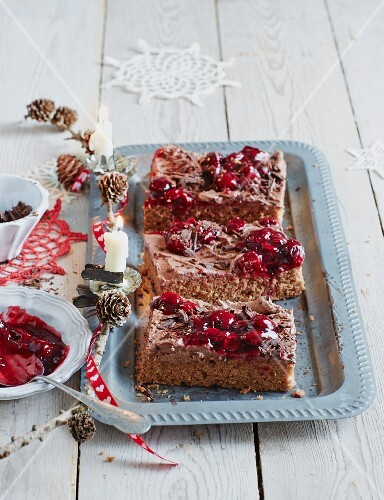 Chocolate and nut sliced with sour cherries (Christmas)