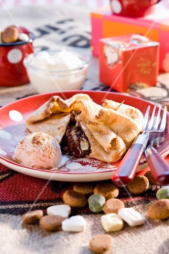 Pancake with pears and chocolate for Christmas