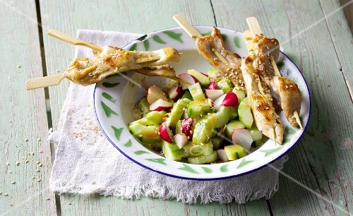 Chicken sate skewers with a cucumber and chilli salad