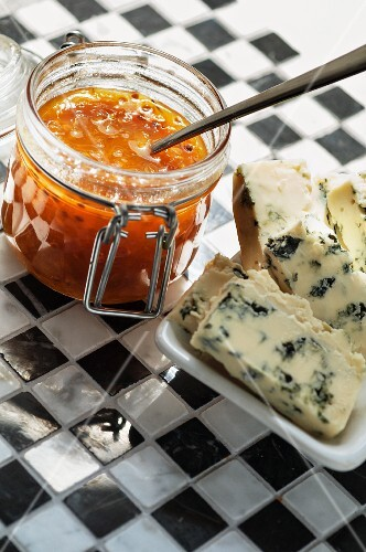 Cloudberry jam with blue cheese