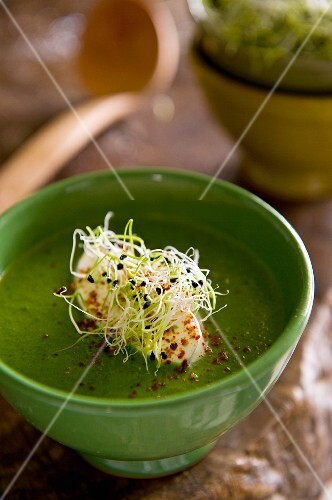 Green vegetable soup with bean sprouts
