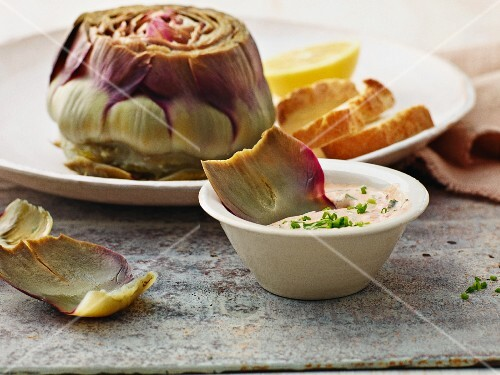 Artichokes with a herb dip