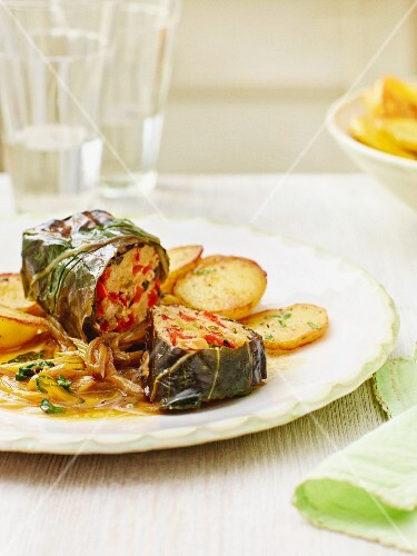Chard rolls with quark filling