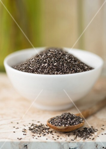Chia seeds in a bowl and on a wooden spoon